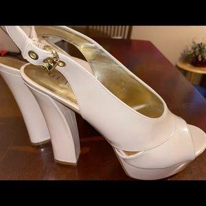 GUESS nude sling back heels